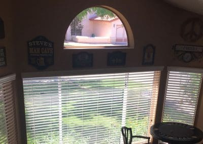 Bay window with white blinds, Shutters & Blinds of Arizona