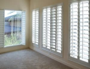 Four large windows with white shutters, Shutters & Blinds of Arizona, Phoenix AZ