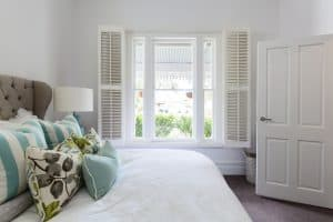 Bedroom with shutters on window, Shutters & Blinds of Arizona, Scottsdale AZ
